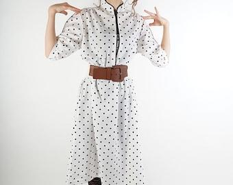 White polka dot vintage dress, 60s summer day dress, women dress, M