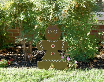 Gingerbread Girl  Wood Yard Art Sign