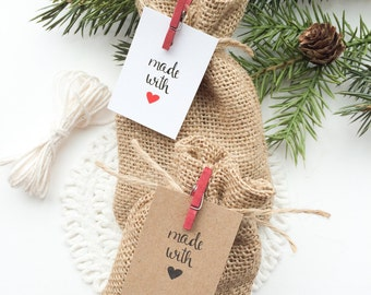 Made with Love Tags. Kraft brown Handmade with Love tags. Set of 12. Christmas made with love tags
