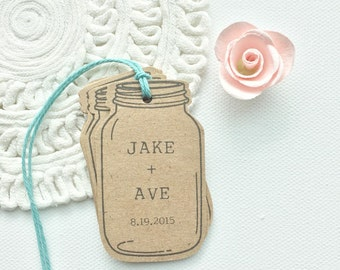 Mason Jar Favor Tags. Custom Rustic Wedding Mason Jar Tags. Bridal Shower Favors. Wedding Favors. Mason Jar Kraft Brown Tags