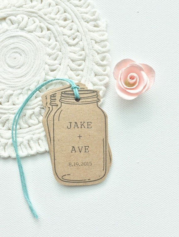 Mason Jar Favor Tags. Custom Rustic Wedding Mason Jar Tags. Bridal ...