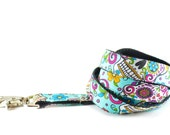 Turquoise Sugar Skull Dog Leash - Dia de los Muertos Day of the Dead Turquoise Aqua Blue Hot Pink and Yellow Leash