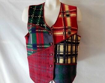 Sz 6 8 10 M Boiled Wool Vest - 80s Plaid Patchwork - Cambridge Dry Goods -