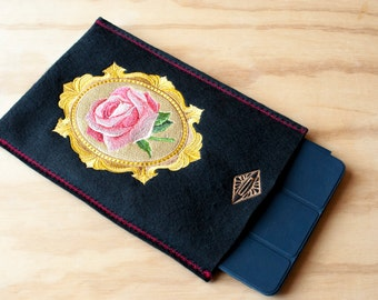 iPad Air Case, iPad Air Cover, iPad Air Protective Sleeve, Black, Felt, Rose, Embroidered, Embroidery, Flower