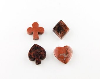 Red Brecciated Jasper Poker Suits Beads