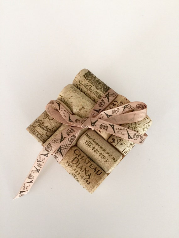 Items similar to wine cork coasters 4 wedding gift idea for Cork coasters for crafts