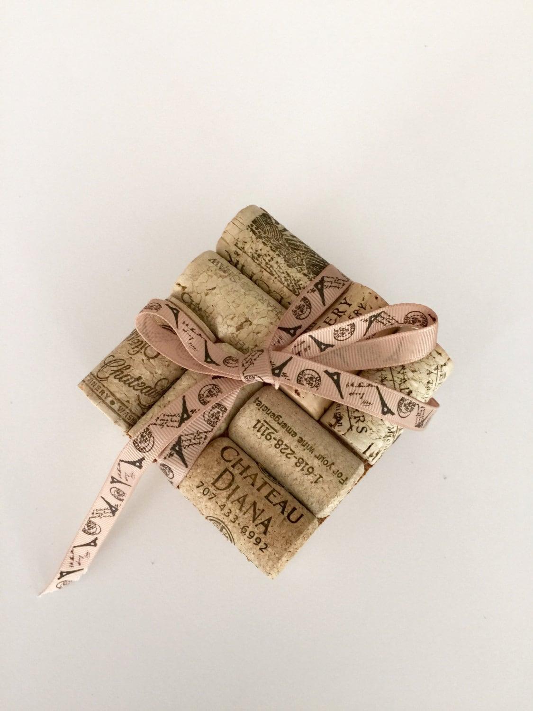 Wine cork coasters 4 wedding gift idea wine cork crafts for Wine cork crafts for weddings