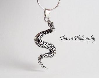 Snake 925 Sterling Silver Necklace - Scaled Snake Pendant - Snake Jewelry
