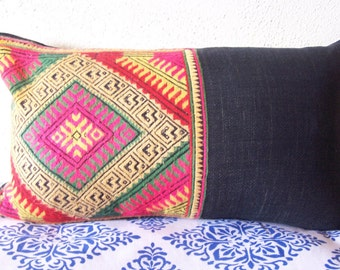 Tribal Embroidered Multicolored Lumbar Accent Pillow // 11x19