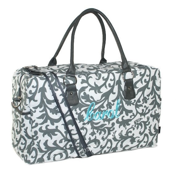 Large monogrammed grey damask weekender bag overnight travel
