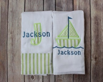 Personalized Monogrammed Baby Boy Burp Cloth Set  - Sailboat and Applique Name
