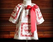 Chalet des Alpes Red Ornament Linen Dress by Steady As She Goes toddler baby girl A line holiday reindeer Christmas tree 0 3 6 12 18 24 mo