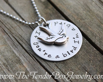 If you're  a bird, I'm a bird necklace stainless hand stamped with bird charm  The Notebook inspired necklace