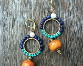 Bohemian wirewrapped Turquoise, Fresh water pearls Lapis lazuli and Amber earrings