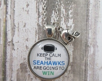 NFL Choose Your Team/Color Keep Calm The Seahaks Are Going To Win Glass Pendant Necklace With Helmet Charm
