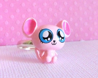 Mouse Ring in Pink, Jewelry, Teen Girls, Kawaii Plastic Ring, Adjustable Accessory