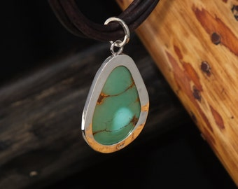 Turquoise drop Pendant Necklace in Sterling silver 2 sided, One of a KInd, Hand Made USA, Free Shipping