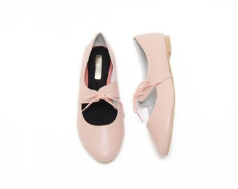 LAST PAIR! Peach leather Ballet Flats - Wide Fit