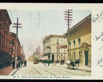 St Joseph Missouri Postcard 5th & Edmond Streets 1904 Undivided Back