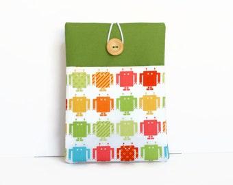 Robots iPad mini case, iPad mini sleeve, Custom 8 inch Tablet cover / Androids on Green