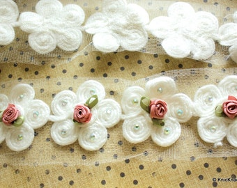 White Wool Flower Trim With Pink Satin Rose