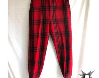 Men's Vintage 1950's/60's J.C. Higgins Sears Roebuck Red Plaid Wool Hunting Trousers Size 34