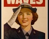 Art Print US Navy, WAVES,  Advert Print, 1940s, WW2,  8 x 10 Print