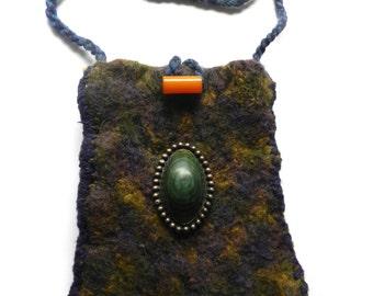 Hand Knit Purple Mustard and Blue Felt Shoulder Bag - Magnificent Malachite