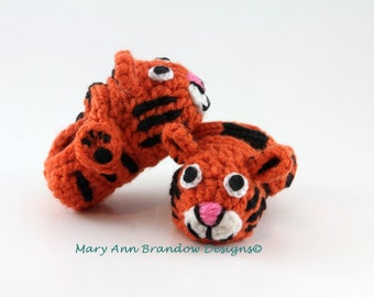 Tiger Baby Booties, newborn booties, baby shower gifts, pregnancy reveal, baby shoes,  crochet booties, fun baby gifts, keepsake baby shoes