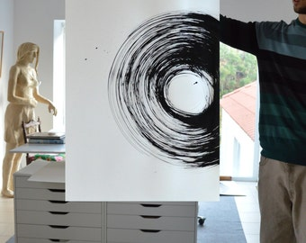 Large size-Original abstract art drawing-acid free paper/circles/movement/movement/cyclone/minimal art/original black and white ink painting