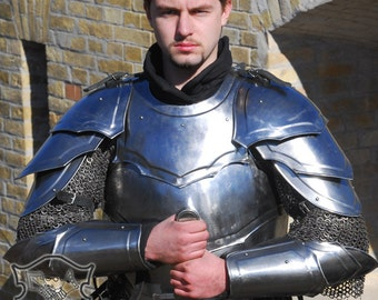 "Larp, fantasy, medieval costume, steel armour: pauldrons ""Combatant"""