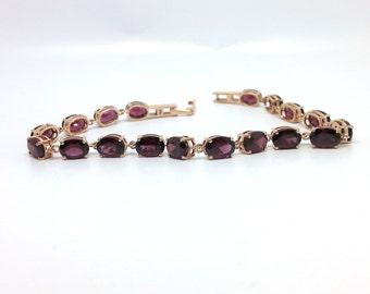 19.10ctw Brazilian Rhodolite Garnet 10K Rose Gold Bracelet