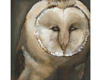 Barn Owl Art Print, Barn Owl Wall Art, thepaintedgrove