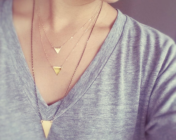 Gold Layered Triangle Necklace - 14K Gold Filled Chain - 14K Gold over Solid Brass Pendants