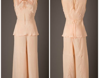 Peach Silk Charmeuse Lingerie Lounge Pajama Set