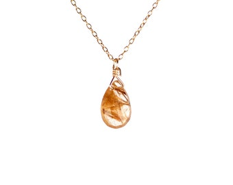 Gold rutilated quartz necklace - crystal necklace - crystal quartz teardrop - a little gold drop wire wrapped onto a 14k gold vermeil chain