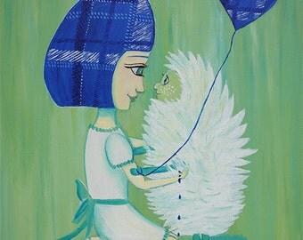 Limited Edition Print - Blue Hair Girl Hedgehog Love - Art, Fantasy, Whimsical, Cute