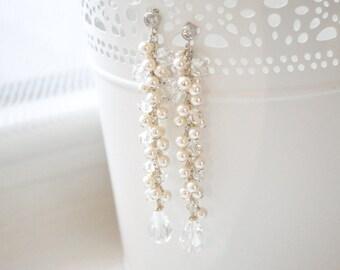 Pearl Bridal Earrings, Long Pearl Earrings, Pearl and Crystal Cluster Bridal Earrings