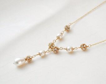 Gold Bridal Necklace, 14kt Gold Fill Wedding Necklace, Y Style Pearl Necklace, Gold Wedding Jewelry