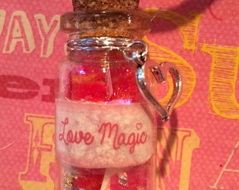 Love Magic Bottle Necklace - For Your Valentine, or Anytime! Bottle Jewelry, Blacklight/UV Reactive Magic in Every Bottle!