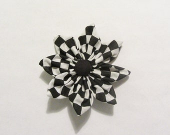 Black and White Checkered Fabric Flower Hair Clip Hair Pin
