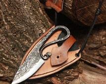 Forged Iron Handmade Real Vikings Hunting Knife Leather Sheath Teiwaz Rune