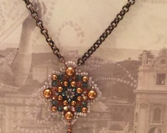 Copper Crystal Mandala Necklace