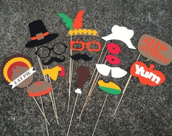 Thanksgiving Photo Props - Turkey Day Props - set of 17 - Photobooth Props, Funny photo prop, Holiday props, Thanksgiving Dinner, Fall party