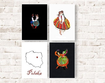 Polish folk, poland art print, set of 4 polish folk prints, Polska