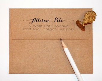 Heart Return Address Stamp for weddings and save the dates, connecting heart, rubber stamp wood handle