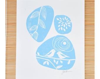 Linocut print - signed block print - 8x10 wall art, blue birds linocut, nature nursery decor, woodlands inspired print, modern linocut