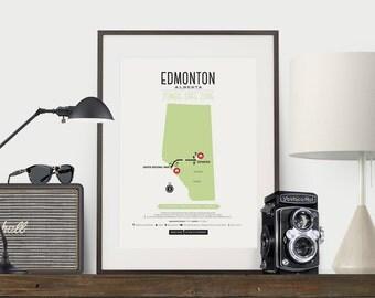 Edmonton map t shirt all over print vintage edmonton alberta zombie safe zone edmonton map poster edmonton alberta map gumiabroncs Images