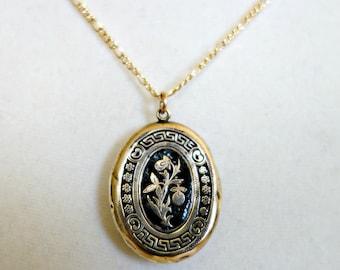 Antique Gold Enamel Locket, Victorian 12k Gold Black Enamel Locket