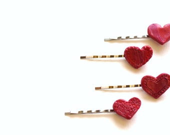 Mini Heart Bobbies, Bobby Pins, Womens Hair Accessories, Teeny Tiny Heart Pins, Valentines Day Hair, Hair Pins, Hair Fashion, Hair Accessory